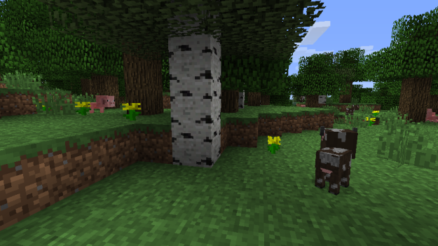 Ascreenshot of a baby minecraft pig and a baby minecraft cow.