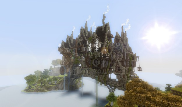 minecraft steampunk bridge town build